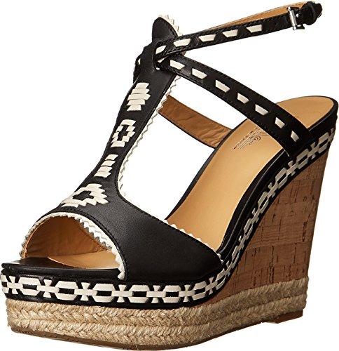 Belle by Sigerson Morrison Womens Aivi Wedge Sandal Black/white Leather IZ4lXBoE