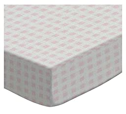 SheetWorld Extra Deep Fitted Portable / Mini Crib Sheet - Pastel Pink Gingham Woven - Made In USA