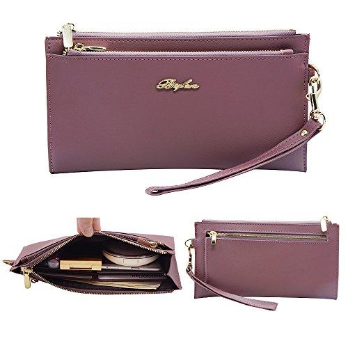 Befen mujeres suave cuero pulsera móvil embrague cartera con correa de muñeca desmontable Smartphone bolso para el iPhone 7 / 6s / 6 más, iPhone 7 / 6s / 6 / 5s-Azul Marino Pale Pinkish Purple