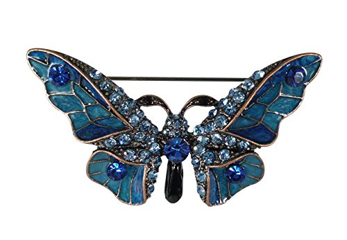 - Bejeweled Christmas Blue Coppery Rhinestone Butterfly Brooch 284