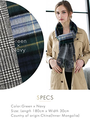 Green X Navy 100% Cashmere Reversible Scarf Muffler Women Gift Scarves Wrap Blanket C0211B1-2 by matti totti (Image #2)
