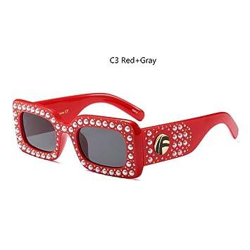 Taiyangcheng Gafas de Sol de Perlas rectangulares pequeñas ...