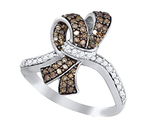 Brandy Diamond Chocolate Brown 10k White Gold Beautiful Ribbon Ring 1/2 Ctw. ()