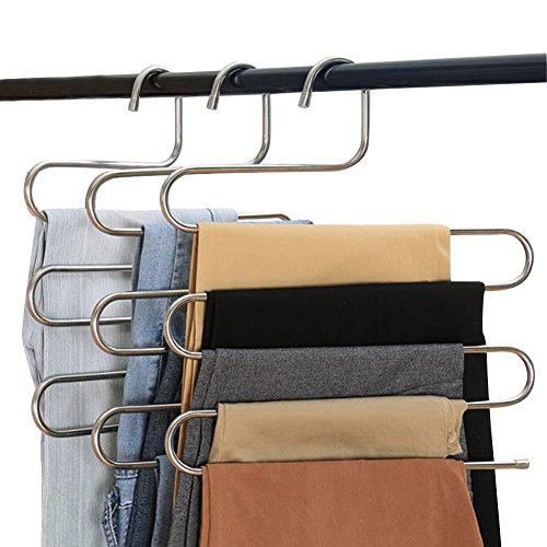 Eityilla S Type Clothes Pants Hangers Stainless Steel Space Saving Hangers 5 Layers Closet Storage Organizer for Jeans Trousers Tie Belt Scarf (4-Pieces) by Eityilla