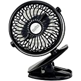 Welltop 5-inch Portable Clip Fan Rotatable Clamp Fans USB or Battery Powered Table Fan Rechargeable Desktop Fan Personal Cooling Fan Clip on Fan Clip (Black) NOTE: Remove Insulation Cover Before Use