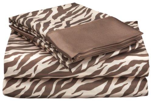 Royal Opulance Satin Cal King Sheet Set, Zebra, Brown/Ivory