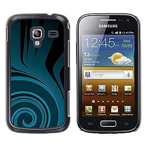 Be Good Phone Accessory // Dura Cáscara cubierta Protectora Caso Carcasa Funda de Protección para Samsung Galaxy Ace 2 I8160 Ace II X S7560M // Teal Flow Black Dark Pattern
