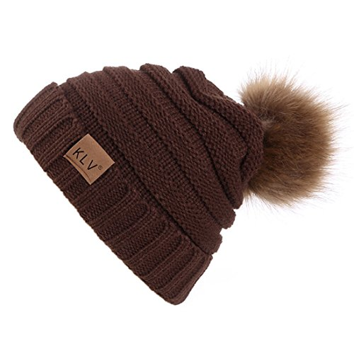 Ski Pompom Outdoor To Woman Acvip Hat Bonnet Winter Knit Warm Coffee ngUnBY0F