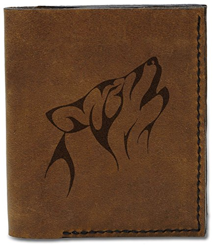 Natural Wolf 04 Leather Wolf Genuine 1 Wallet New Abstract Men's Handmade b MHLT Abstract IAZqpw