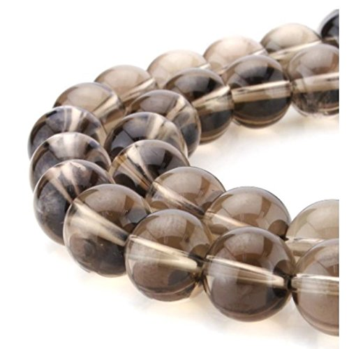 - Natural Smoky Quartz Gemstone Loose Beads 6mm Round Spacer Beads For Jewelry Making 15.5