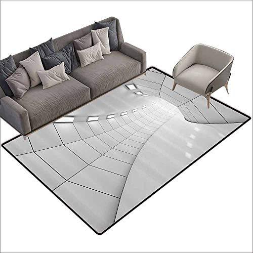 - Anti-Slip Coffee Table Floor Mats Apartment Decor Collection,Modern Illuminated Long Corridor Geometric Futuristic Tunnel Monochromic Artwork Print,Grey 64