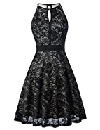 Kate Kasin Lace Halter Sleeveless Swing Dress Keyhole A-Line Party Dress KK638