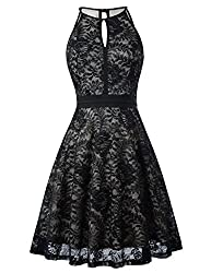 Kate Kasin Lace Halter Sleeveless A-Line Keyhole Wedding Party Formal Dress KK638
