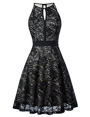 Kate Kasin Lace Halter Sleeveless Swing Dress Keyhole A-Line Party Dress KK638