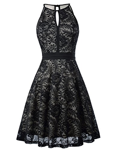 Kate Kasin Classy Lace Knee Length Sleeveless Dress Evening Out Cocktail Dress KK638-1 L