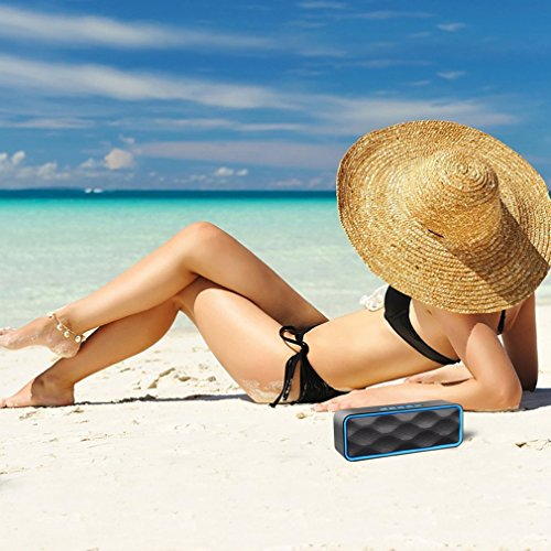 Wireless Bluetooth Speaker, ZOEE S1 Outdoor Portable Stereo Speaker with HD Audio and Enhanced Bass, Built-In Dual Driver Speakerphone, Bluetooth 4.0, Handsfree Calling, FM Radio and TF Card Slot