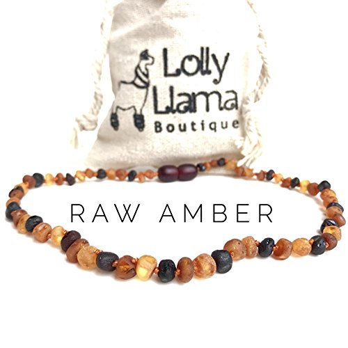 Raw Amber Teething Necklace for Babies (Unisex) Teething Pain Relief - Certified Genuine Baby Baltic Amber Necklace- Tri-Color ()