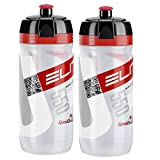 Elite Corsa Racing Bike Water Bottles - Clear/Red, 550ml/ea (2 Pack)