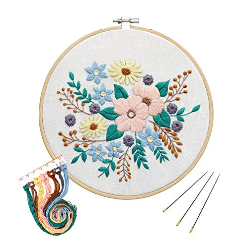 Full Range of Embroidery Starter Kit with Pattern,UNIME Cross Stitch Kit Including Embroidery Cloth with Plant Pattern, Bamboo Embroidery Hoop, Color Threads and Tools Kit (Flowers)