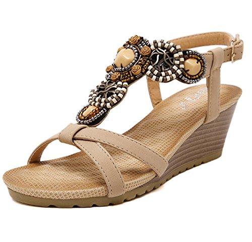 d'été Huaishu doux Apricot chaussures sandales Lovely dames Femmes de filles vacances plage perlé Bohème Wedges confort Buckle tongs HHarvTqw