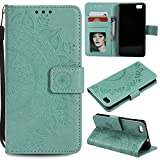 Floral Wallet Case for Huawei P8 Lite,Strap Flip Case for Huawei P8 Lite,Leecase Embossed Totem Flower Design Pu Leather Bookstyle Stand Flip Case for Huawei P8 Lite-Green