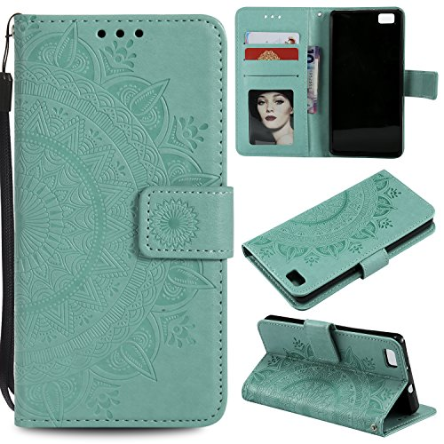 Floral Wallet Case for Huawei P8 Lite,Strap Flip Case for Huawei P8 Lite,Leecase Embossed Totem Flower Design Pu Leather Bookstyle Stand Flip Case for Huawei P8 Lite-Green by Leecase