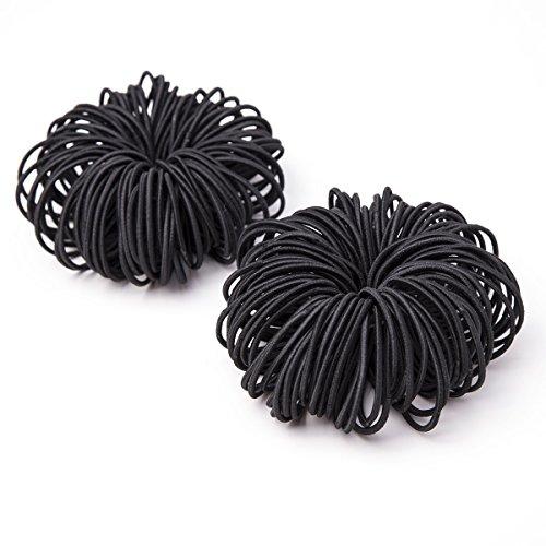 Munax No Metal Ponytail Holders Effortless Beauty No-damage Elastics hair ties, 2 mm (200, Black) (2 Mm Hair Elastics)