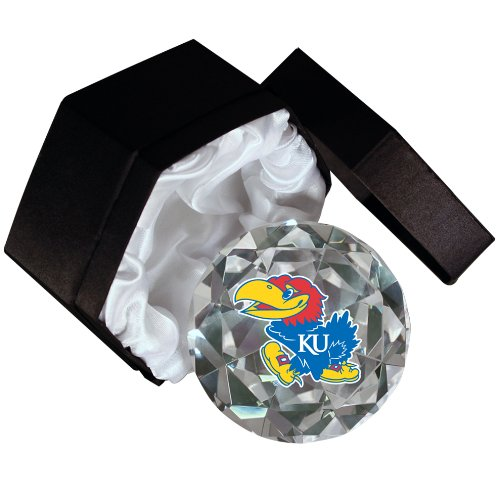 NCAA Kansas University Jayhawks Mascot on a 4-Inch High Brillance Diamond Cut Crystal (Kansas University Desk)