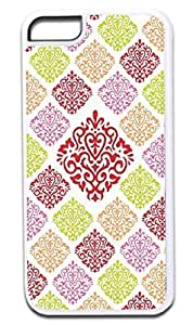 06-Large and Small Damasks-Pattern- Case for the APPLE IPHONE 5c ONLY!!!-Hard White Plastic Outer Case