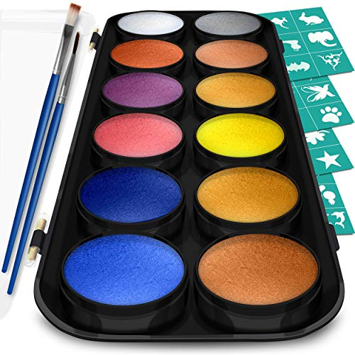Face Paint and Body Painting Kit – Set of 12 Metallic Colors with Bonus Flat and Detail Paint Brushes – Comes w/ 30 Design Stencils – Non Toxic, Water Based -