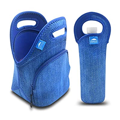 Nordic By Nature Neoprene Lunch Bag For Women, Men & Kids Extra Thick Insulated Neoprene Lunch Tote With Water Bottle Sleeve Durable Reusable Machine Washable Extra Pocket YKK Zippers (Blue Denim): Kitchen & Dining