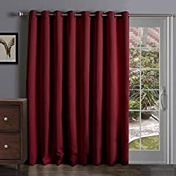 Onlycurtain Thermal Insulated Extra Wide Blackout Patio Door Curtain Panel, Sliding Door Curtains Grommet Ring Top 100W x 84L Inches - Burgundy
