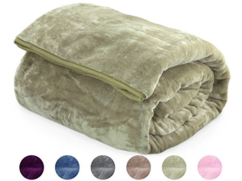 "Archangel Ultra Silky Soft Heavy Duty Quality Korean Mink Reversible Cloud Blanket Solid Dusky Green Queen 83""x94"""