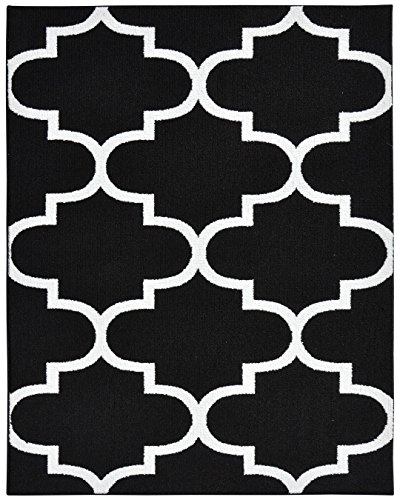 Garland Rug Large Quatrefoil Area Rug, 8 x 10, Black/White