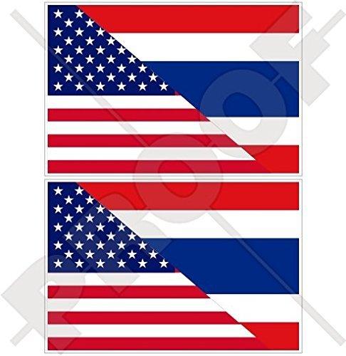 "USA United States of America & THAILAND Siam, American-Thai Siamese Flag 4"" (100mm) Vinyl Bumper Stickers Decals x2"