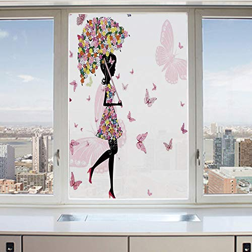3D Decorative Privacy Window Films,Girl with Floral Umbrella and Dress Walking with Butterflies Inspirational Art Print,No-Glue Self Static Cling Glass film for Home Bedroom Bathroom Kitchen Office 17