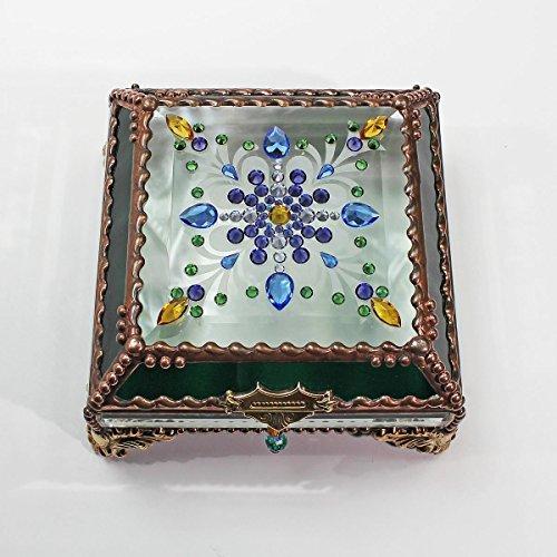 Jewel Encrusted 5X5 COPPER Glass Treasure Jewelry Box Swarovski Crystals USA made by Glass Treasure Box