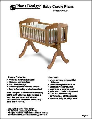 Nursery Baby Swing Cradle Bed Woodworking Plans Design 5crd2