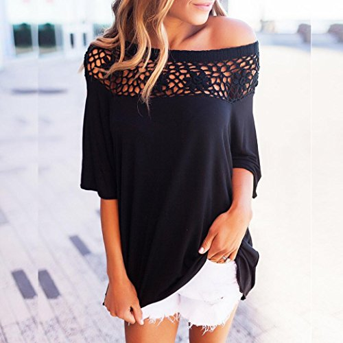 Goodsatar Mujer Verano Señoras Cordón Tops Moda Camiseta Blusa suelta suelta Negro