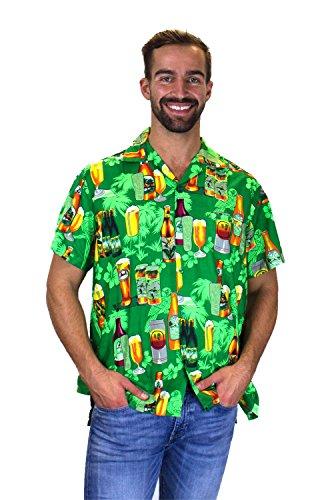Funky Hawaiian Shirt, Beerbottlegreen, - Beer Hawaiian