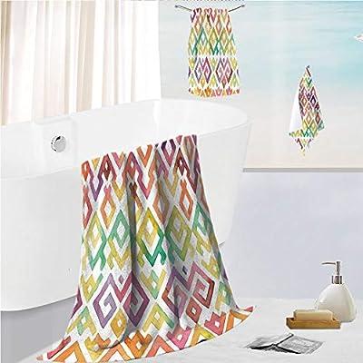 iPrint Bath Towel 3 Pieces Hand Towels Set Microfibe Customized Bath Towel Combination,Pattern Twisted Lines Geometric Boho African,Customized Bath Towel Combination Quick Drying & Super Absorbent