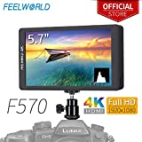 FEELWORLD F570 5.7 inch On Camera Field Monitor DSLR Small HD focus Video Assist IPS Full HD 1920x1080 Support 4K HDMI Input Output Rugged Aluminum Housing for Gimbal Stabilizer Rig