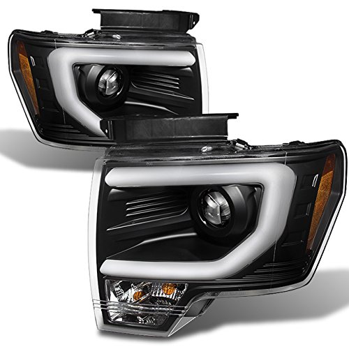 For Ford F150 F-150 Pickup Black Bezel DRL Daylight LED Strip Xenon HID Type Projector Headlights Lamps