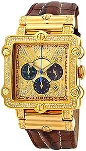 "JBW Men's JB-6215-238-A ""Phantom"" Brown Diamond And Gold Bezel Leather Band Watch"