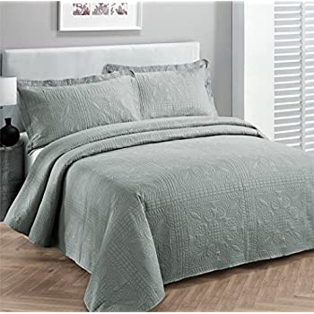 Fancy Collection 2pc Luxury Bedspread Coverlet Embossed Bed Cover Solid  Grey New Over Size Twin/