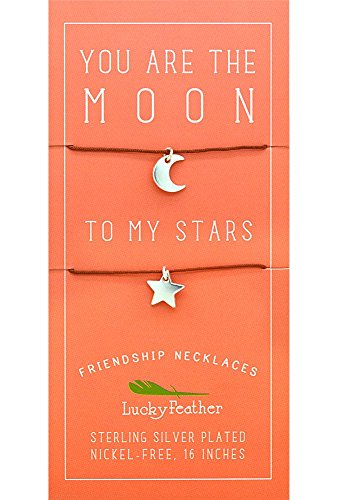 Lucky Feather - Lucky Feather Moon/Star Friendship Necklace, 1 Each