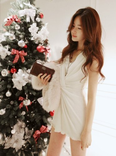 Partito 149 Bianco Delle Vestito Grazioso Sleeveless Tentazione Da Vestito Increspato Nero Donne xqwBUI1PW