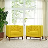 Modern Contemporary Urban Design Living Lounge Room Sofa Set ( Set of Two), Yellow, Fabric