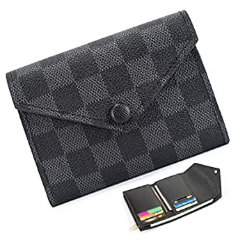 Trifold Wallets for Women Practical Compact Checkered Wallet and Blocking with Card Holder Organizer -PU Vegan Leather - Black - One Size