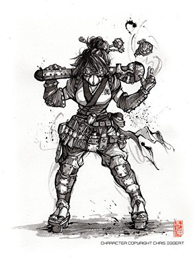 Fighters Girls Figure (Samurai Steampunk Engineer Girl Fighter PRINT 8x10 inches sumi ink)
